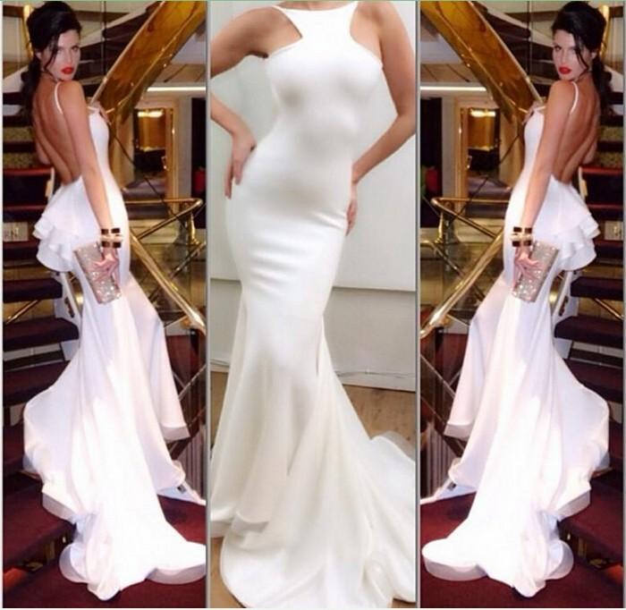 Custom Made Slim Fit Sexy White Backless Prom Evening Dresses Mermaid Floor Length Ruffles Halter Peplum Women Party Dresses