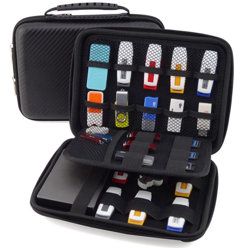 Al por mayor-Gran promoción original 3 capas portátil organizador de cable portátil HDD bolsa caso USB Flash Drive caso embrague bolsa monedero negro