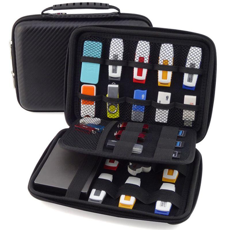 Wholesale- Big Promotion Original 3 Layers Portable Carry Cable Organizer mobile HDD Bag Case USB Flash Drive Case Clutch Bag Purse Black