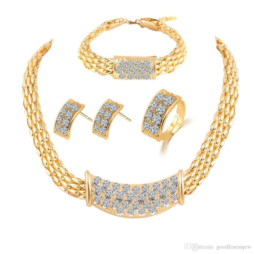 신부 들러리 쥬얼리 세트 다이아몬드 반지 목걸이 팔찌 귀걸이 웨딩 파티 쥬얼리 세트 두바이 18k 골드 쥬얼리 세트처럼 인도 아프리카