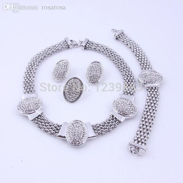 Atacado-2015 Nova Moda Banhado A Prata Branco Cristal Rhinestone Set Jóias para Mulheres Clássico Casamento Nupcial Conjuntos de Jóias Traje