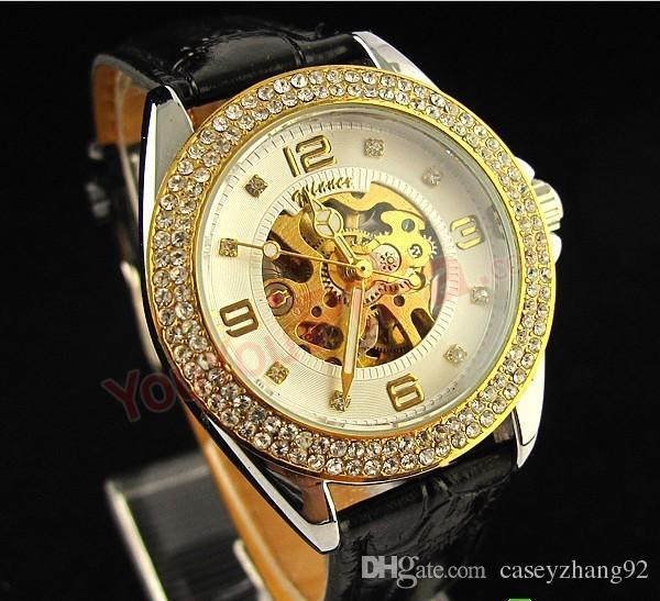 new!Winner Women's Gold Tone Skeleton Automatic Mechanical Rhinestone Case Girls Lady Fashion Jewelry Watches