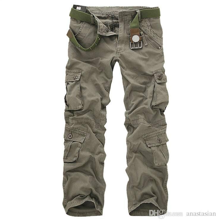 Los hombres de otoño táctico militares pantalones deportivos masculinos al aire libre Multi-bolsillos Senderismo estilo flojo pantalones sin correa envío gratis