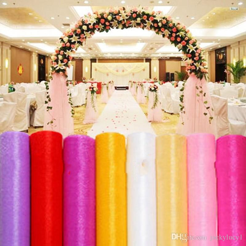 59 Inch Wide 50 Meters Ribbon Roll Organza Tulle Yarn Chair Covers Accessories For Wedding Backdrop Curtain Decorations