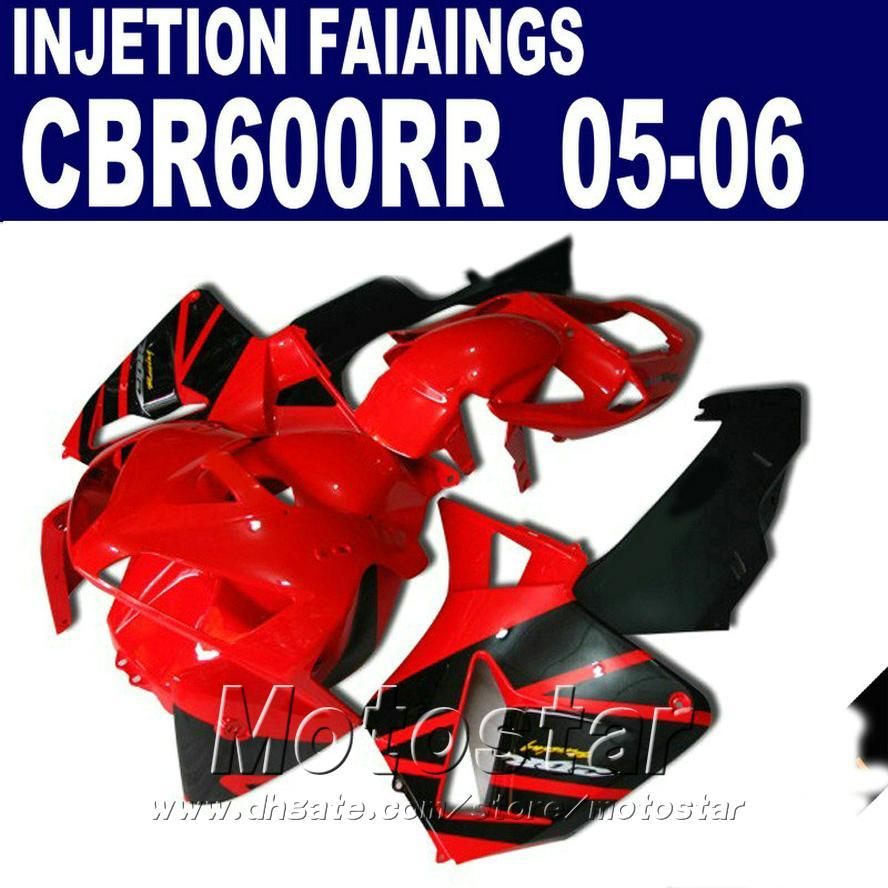 Mükemmel kırmızı! HONDA CBR 600 RR kaportalar için enjeksiyon kalıplama 2005 2006 cbr600rr 05 06 cbr 600rr kaporta kiti F9XN
