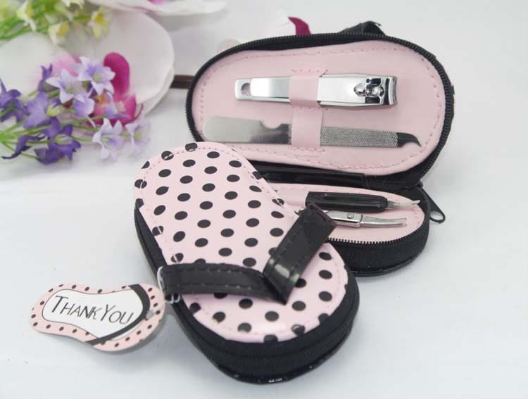 200PCS-LOT-Pink-Polka-Flip-Flop-Pedicure-Set-with-Matching-Tag-Free-shipping-Wedding-bridal-shower