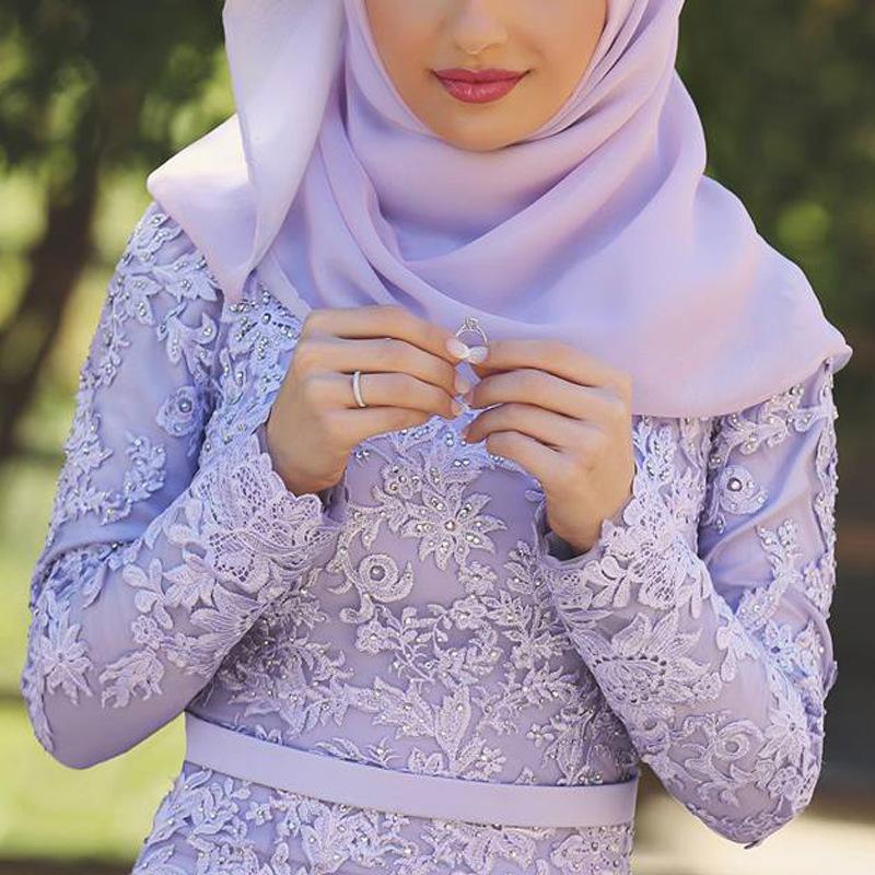 Compre Vestido De Novia Musulmán Violeta Púrpura Mangas Largas ...