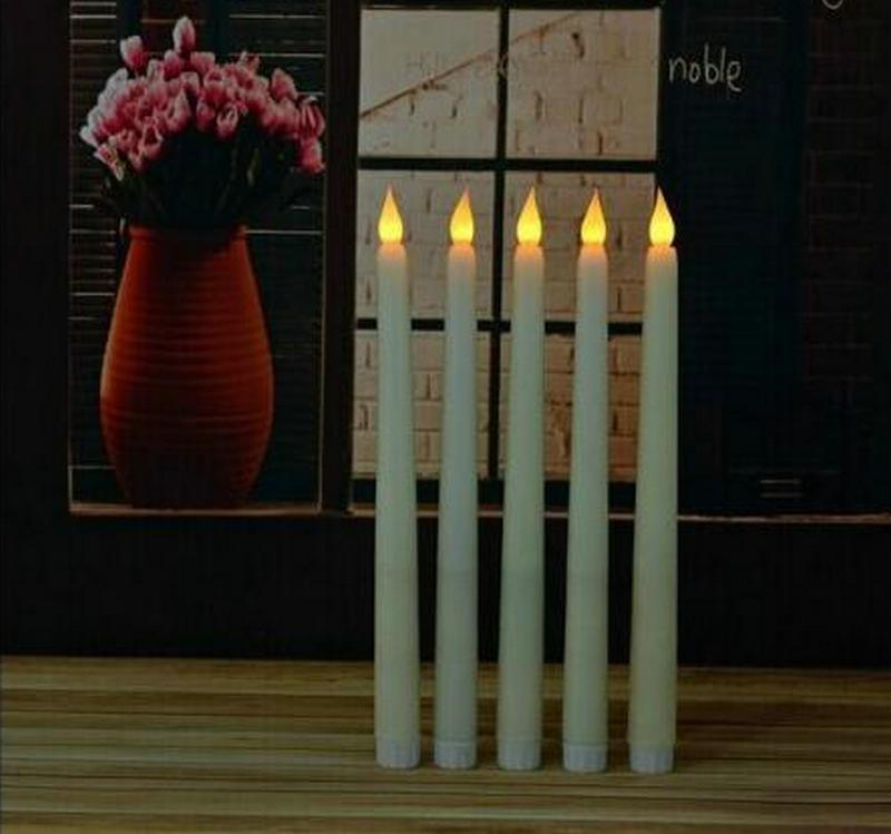 Home Led 11 INch Led Battery Operated Flickering Flameless Ivory Taper Candle Lamps Stick Candle Wedding Table Room Church Decor 28cm (H )