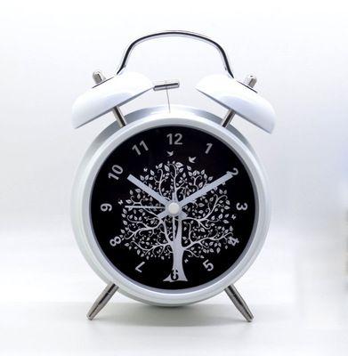 Stor 4-tums metall dämpad kreativ väckarklocka med nattljus dubbelklocka lat luminova väckarklocka
