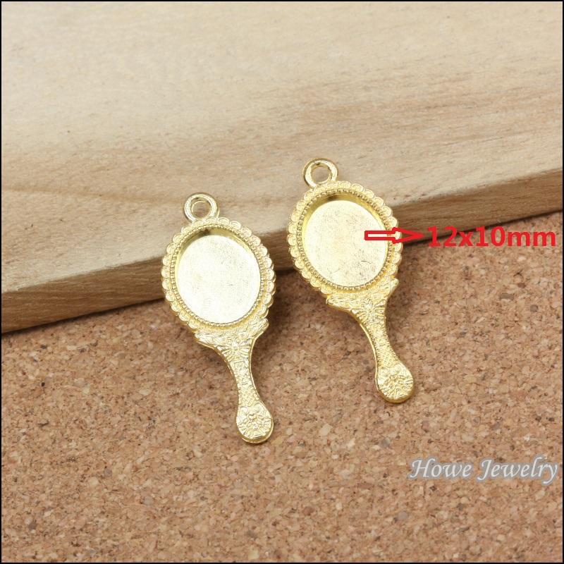 Toptan 60 adet Emaye Alaşım altın kaplama Takı Ayna Kolye charms bilezik kolye DIY takı yapımı içinJewelry yapımı