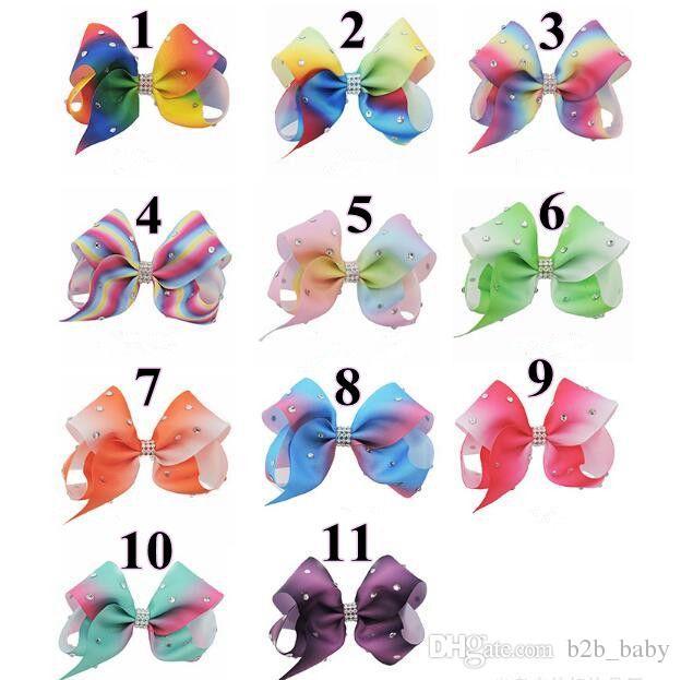 Rainbow 3 Hair Bows Girls Diamante Hair Clip Accessories 12cm