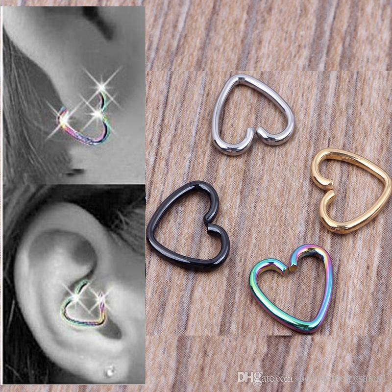 40pcs / lote misto 4 Cores Ear cartilagem Brincos Piercing Coração Labret Anéis Lip Hoop Nose Jóias Anéis Corpo