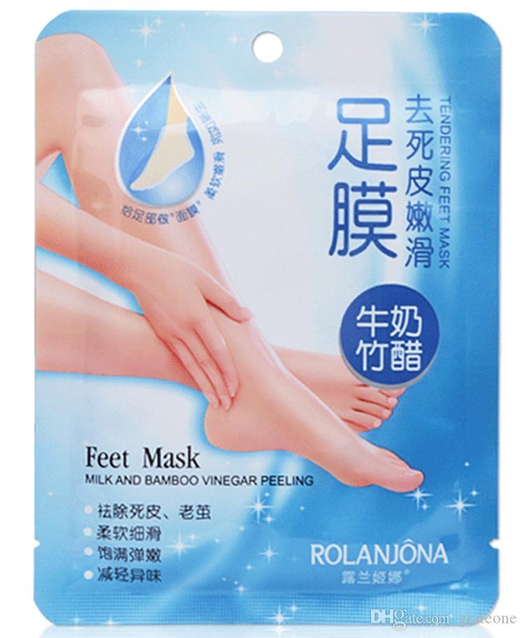 5 pacotes = 10 pcs ROLANJONA pés máscara de Pé Do Bebê Peeling Renovação Pé Máscara Remover Pele Morta Esfoliante Suave Meias Cuidados Com Os Pés Meias Para Pedicure