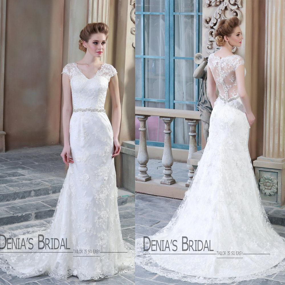 2015 Mais Recentes Vestidos De Casamento Uma Linha V Pescoço Mangas Tampadas Rendas Apliques Com Shinning Cintos Vestidos De Noiva