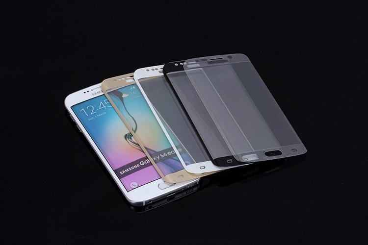 Полное покрытие 3D изогнутый закаленное стекло протектор экрана взрывозащищенный анти-царапины для Samsung S6 Edge S6edge Plus с розничной коробкой