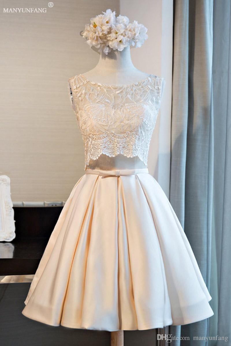 2018 Hot A Line Short Cocktail Party Dresses New Lace Appliques Mini