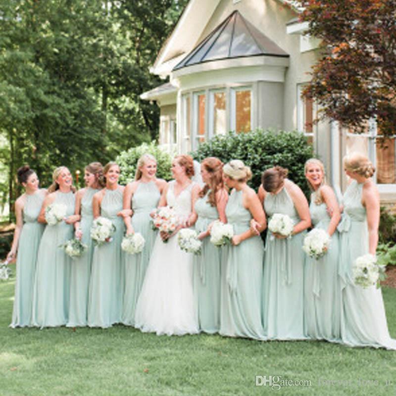 싼 신부 들러리 드레스 세이게 시폰 고삐 목걸이 긴 전체 길이 고품질 민소매 신부 들러리 가운 해변 정원 결혼식