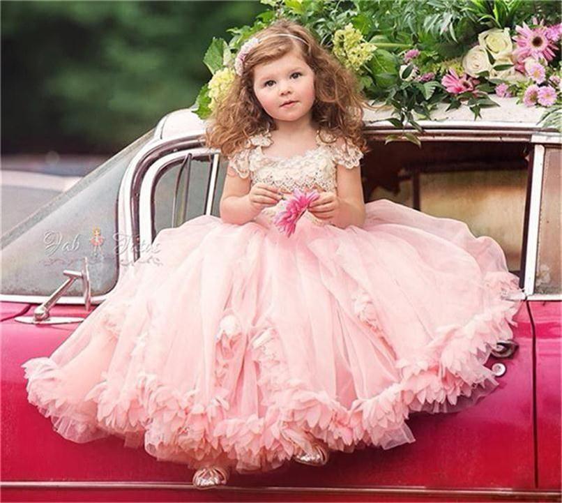 웨딩 캡 소매에 대한 빈티지 핑크 플라워 걸스 드레스 레이스 비즈 여아 옷 입히기 드레스 유아 바닥 길이 첫 번째 영성체 복장