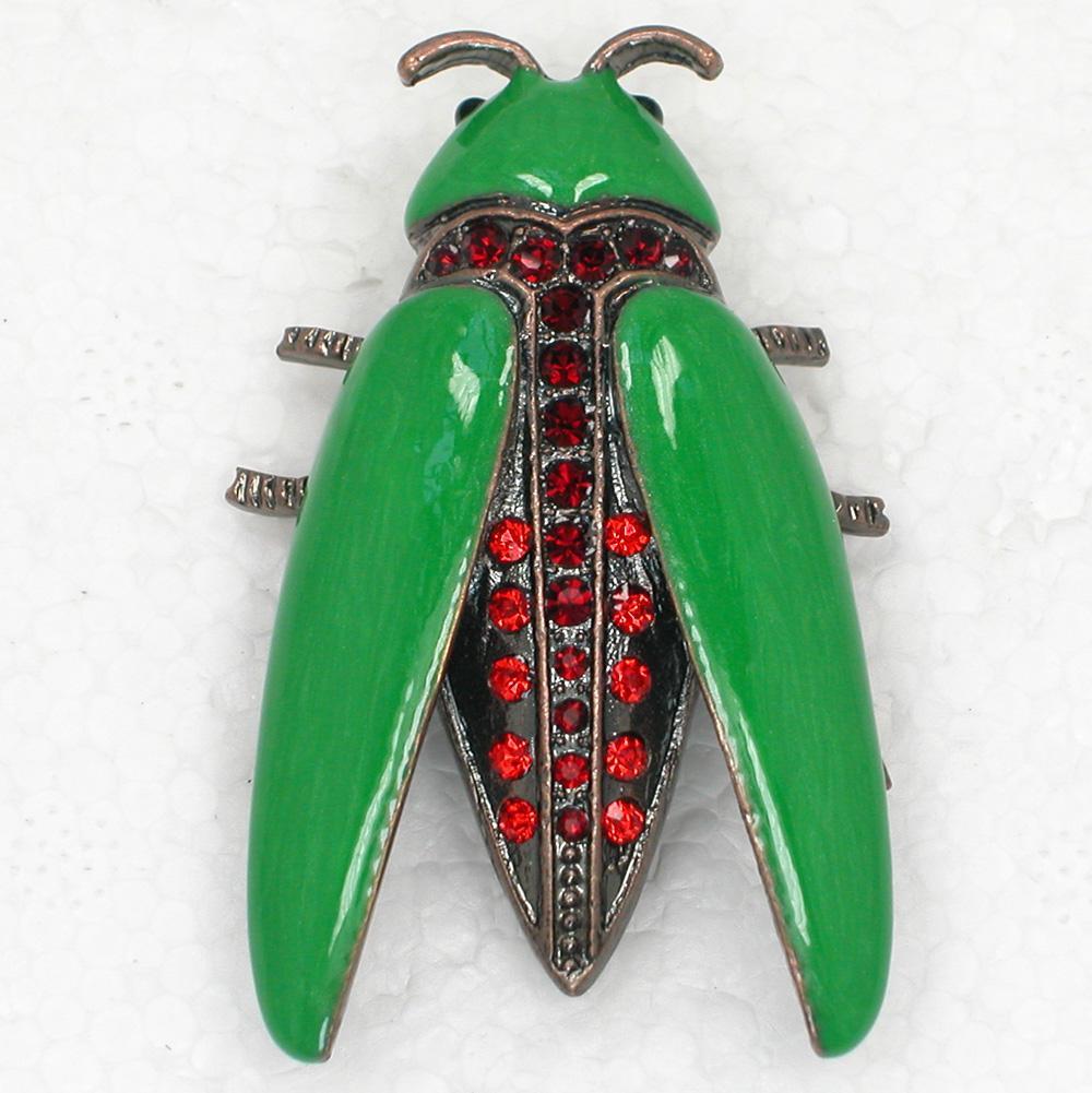 Atacado Na moda jóias presente Cristal Strass Esmalte Bug Inseto Pin Broche C555