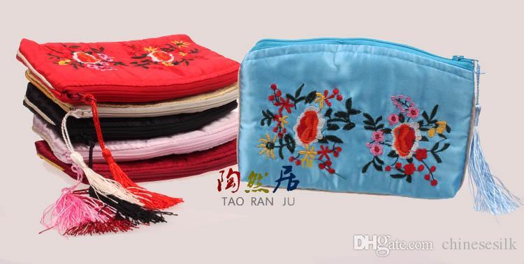 en medialuna artesanal de joyería bordado grande bolsas de regalo de la cremallera de la borla de seda decorativos de almacenamiento bolsas 50pcs mucho / color de la mezcla