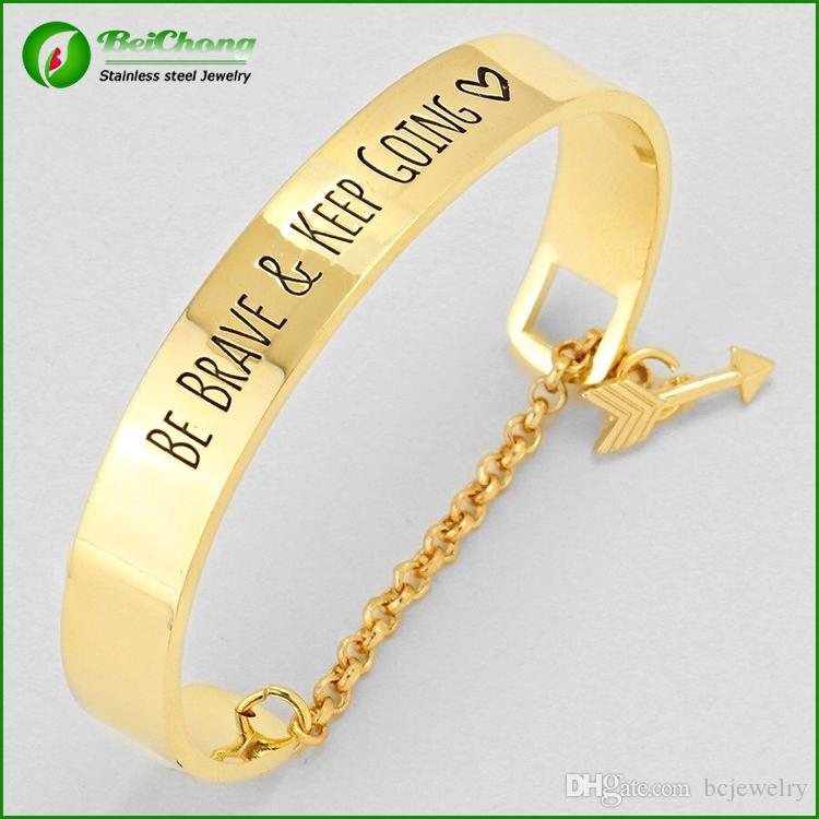 BC Be brave and keep going message bracelet engraved cuff fashion bracelet Free Shipping BC-005