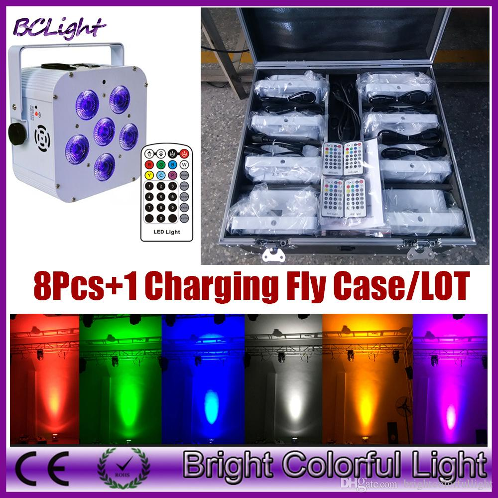 (8 pcs +1 fly case /lot) Infrared remote control RGBAW UV LED wedding uplight & battery high powered DMX par 6x18W (White case)
