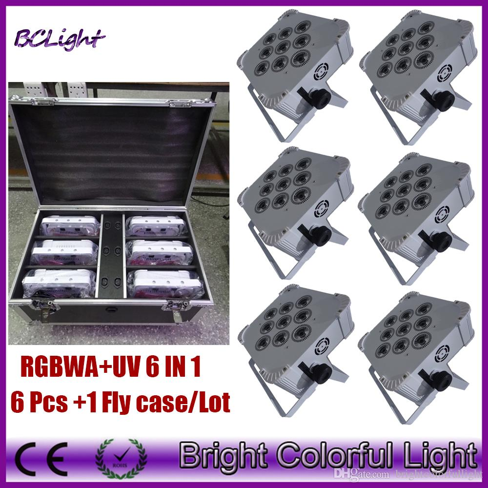(6lights+1 fly case/lot)9*18w RGBWA+UV Wireless dmx led slim flat par light uplights/wedding wash par dmx wireless