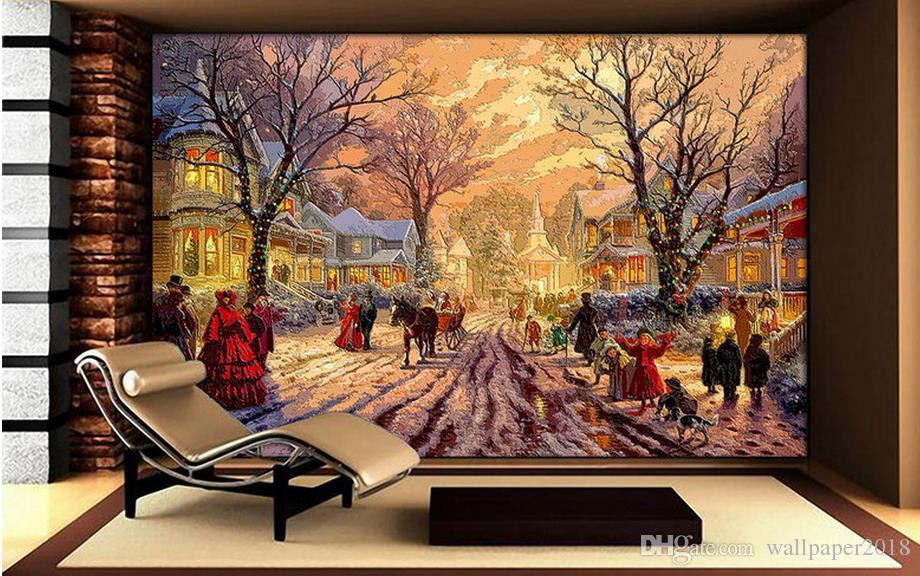 Christmas In Europe Wallpaper.Bathroom Wall Paper Wood Carving Woodworking Effect Europe And The United States Rural Town Christmas Oil Painting Tv Wall Wall Wallpapers Hd