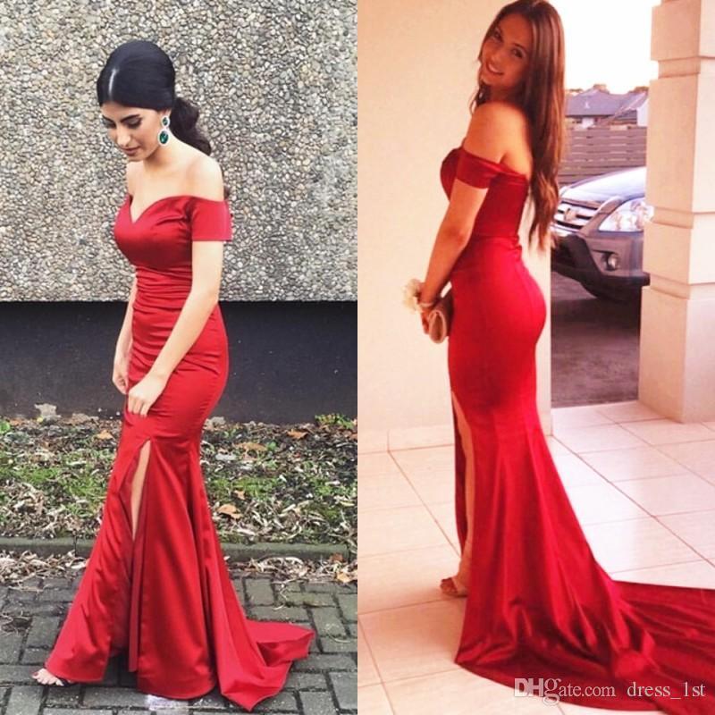 Atemberaubende 2017 Red Off Shoulder Mermaid Prom Kleider Long Günstige Side Split Sweep Zug Abendkleider Party Abend Nach Maß EN11231
