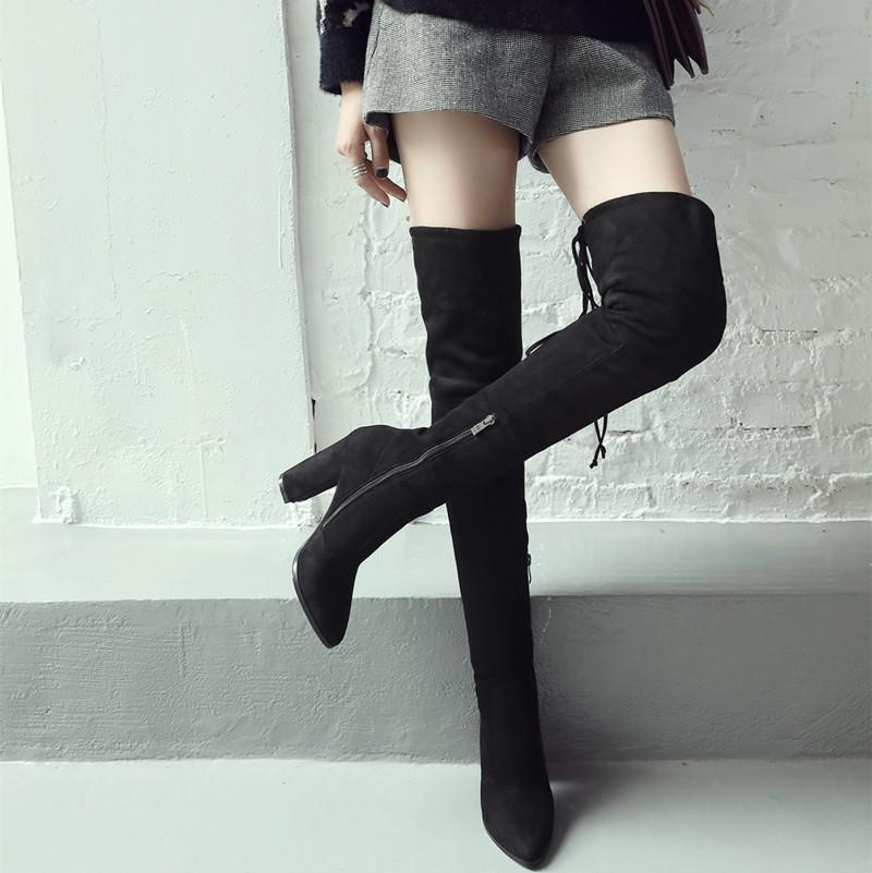 2018 new Women Boots Shoes Winter Knee High Boots Sexy Stretch Over The  Knee High Boots Black Slim Fit Thigh High Heels 0325247740
