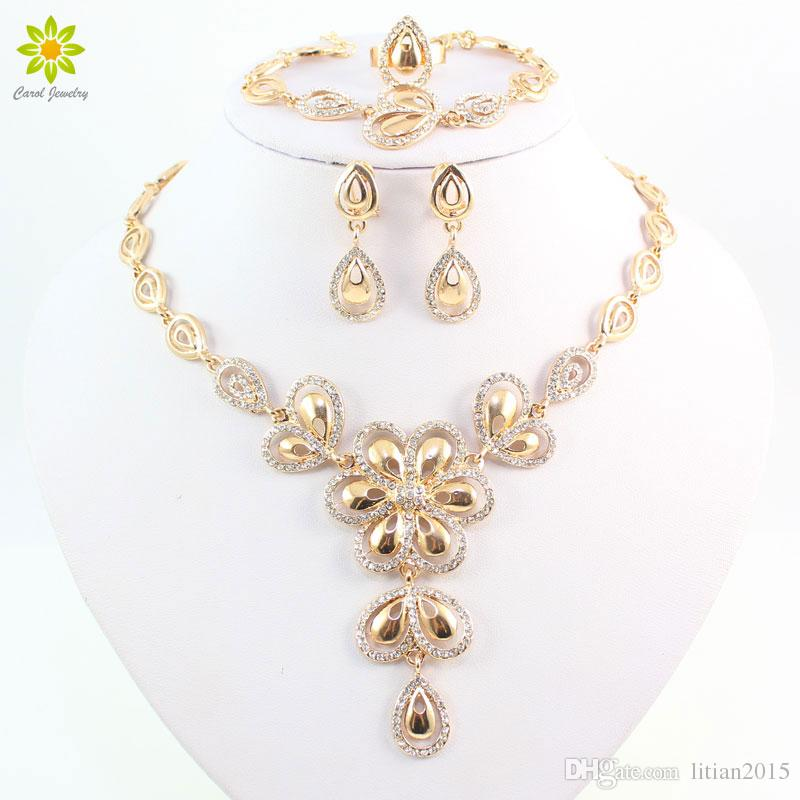 Fashion Crystal Flower Necklace Earrings For Women 18k Gold Plated African Costume Jewelry Sets