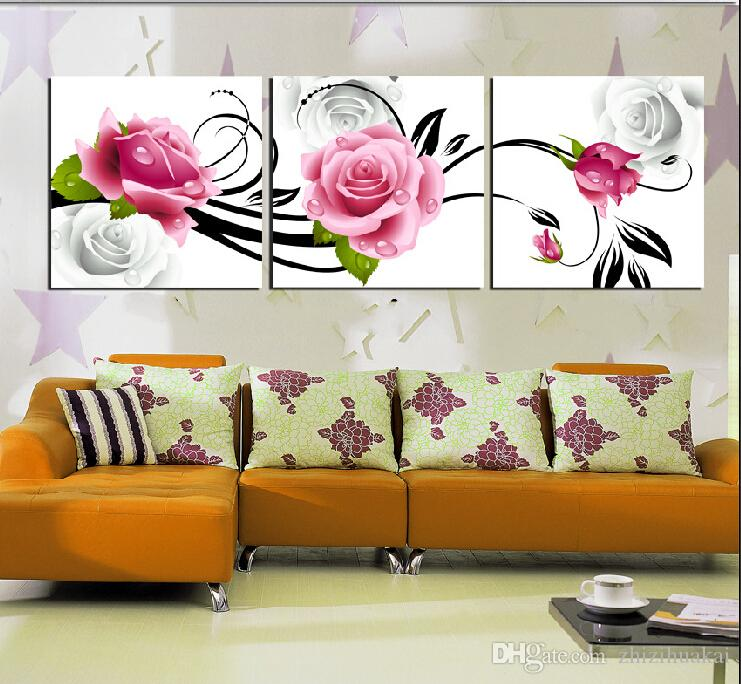 3 Pieces Hot Sell Modern Wall Painting Art Picture Paint on Canvas Prints rose fish Lotus wedding ring petal tree Coffee Blue Peacock