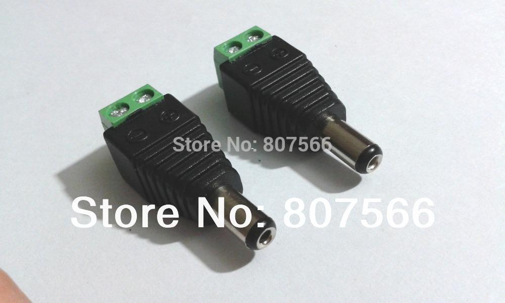 Free Shipping 1000 pcs 5.5mm x 2.1mm male CCTV Camera LED DC Power jack plug Adapter connectors