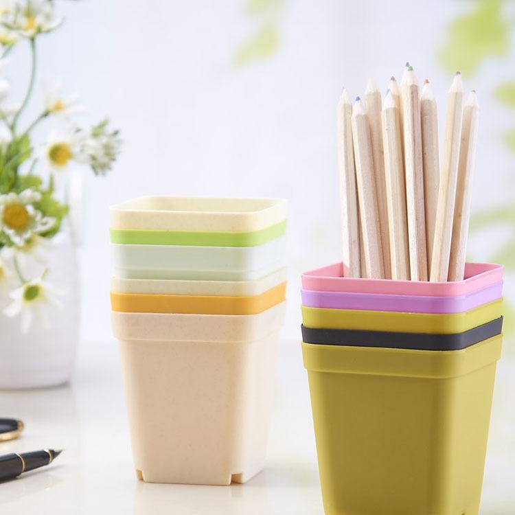 Fashion Bonsai Planters Plastic Table Mini Succulents Plate Gardening Vase Square Flower Pot Colorful free shipping