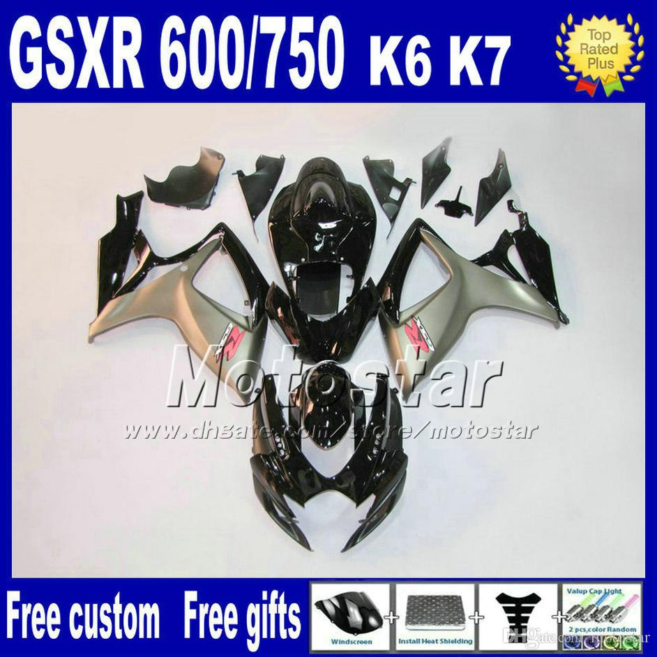 kit del carenado de alta calidad para GSXR 600/750 2006 2007 SUZUKI GSX-R600 GSX-R750 06 07 K6 plata modifique para requisitos particulares negro carenados conjuntos FS82