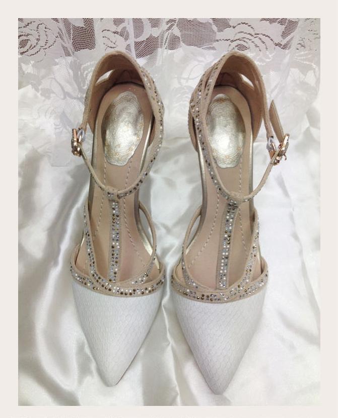 Scarpe Sposa 8 Cm.Acquista Strass Pompe Tacco Alto Party Shoes A Punta Scarpe Da