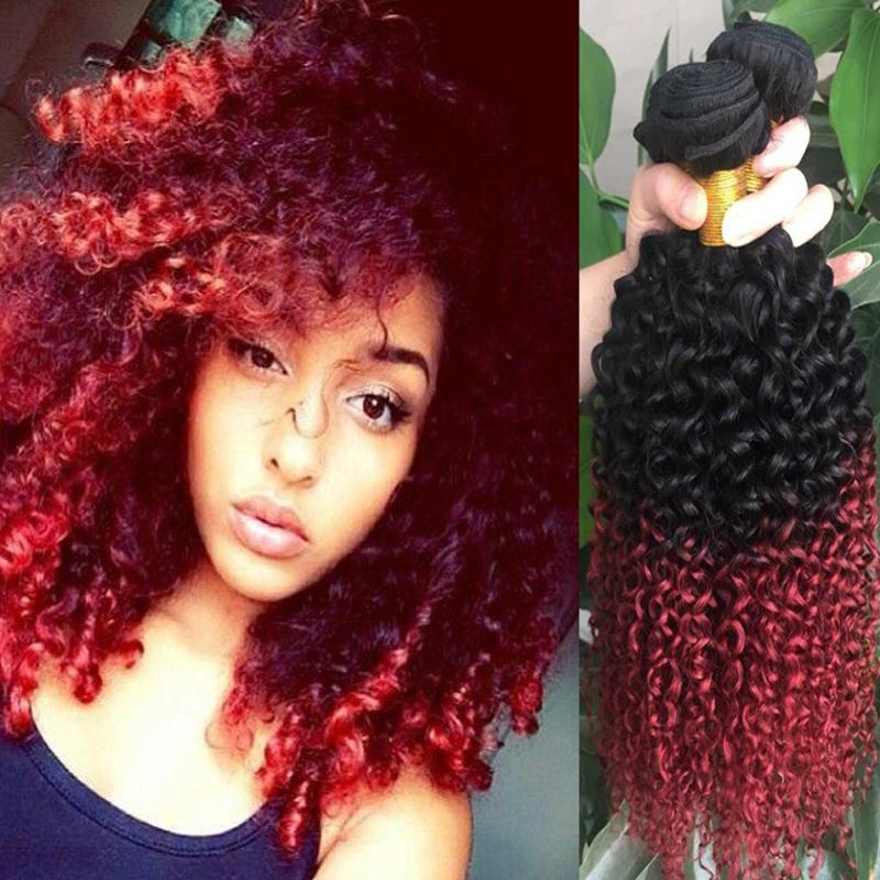 Red Brazilian Curly Ombre Hair Extensions 1b Burgundy Two Tone Human Hair Kinky Curly Weave Red Curly Weave Hair Weaving Extensions Weaved In Hair