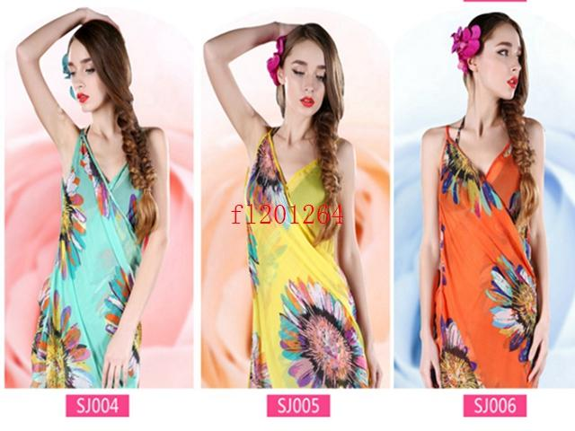 100pcs / lot chiffon libero delle donne avvolgono l'involucro di estate del copricostume dell'abbronzatura del vestito dell'asciugamano delle coperture di usura della spiaggia