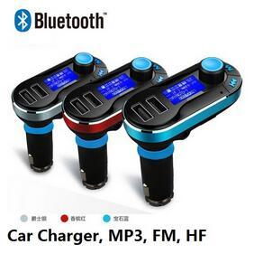Hot Sale !!! Best Bluetooth Car Kit Handsfree MP3 Player With FM Transmitter Dual 2 USB Car Charger Support SD Line-in AUX DHL Free Shipping