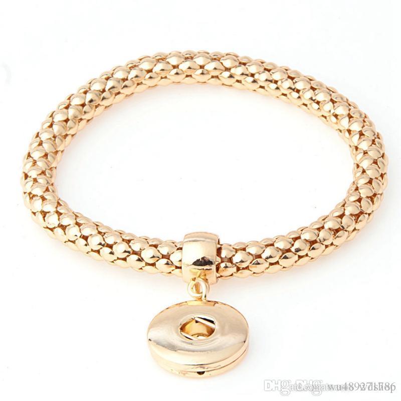 18K золото кукурузы цепи Оснастки кнопка BraceletBangles тенденция сменные браслет для женщин Fit 18 мм Оснастки кнопки ювелирные изделия