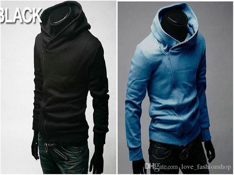 Assassin's Creed Mens Slim Fit Sclique Zipper Kurtki Stand-Up Collar Hoodie Coats Scrique Zipper Sweter Mężczyźni Szczotkowane Kurtki męskie