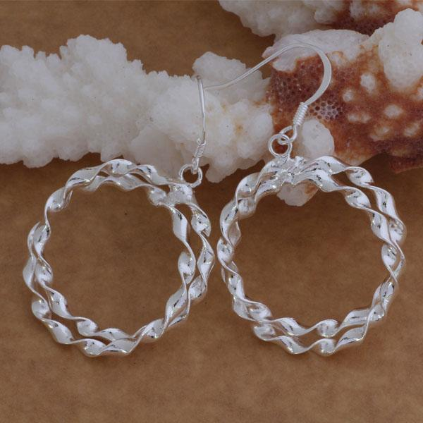 Мода (изготовление ювелирных изделий) 40 шт много 2 витой круг серьги стерлингового серебра 925 заводская цена мода обуви серьги