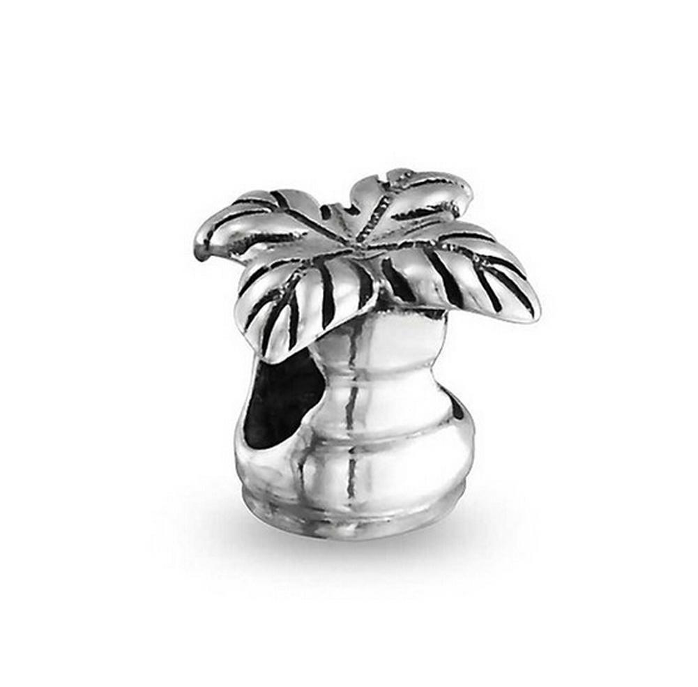 Wholesale Rhodium Silver Plated Large Hole Palm Tree Travelling European Charm Spacer Metal Bead Fit Pandora Bracelet