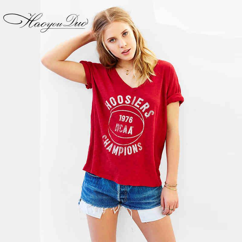 2016 Recién llegado de NCAA Campeón de impresión camisetas sueltas Red V cuello algodón Rolling Sleeve Shirts para mujeres Letras impresas Tees envío gratis