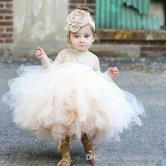 Lovely Ball Gown Tulle Flower Girls' Dress with Bow Lace Long Sleeves Baby Princess Toddler Kids Wedding Dresses