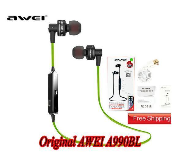AWEI A990BL 스포츠 스마트 블루투스 무선 이어폰 넥 밴드 (iPhone 5 6 6S 용 마이크 제어 헤드폰 포함) Samsung Galaxy S6 S4 Note4 HTC