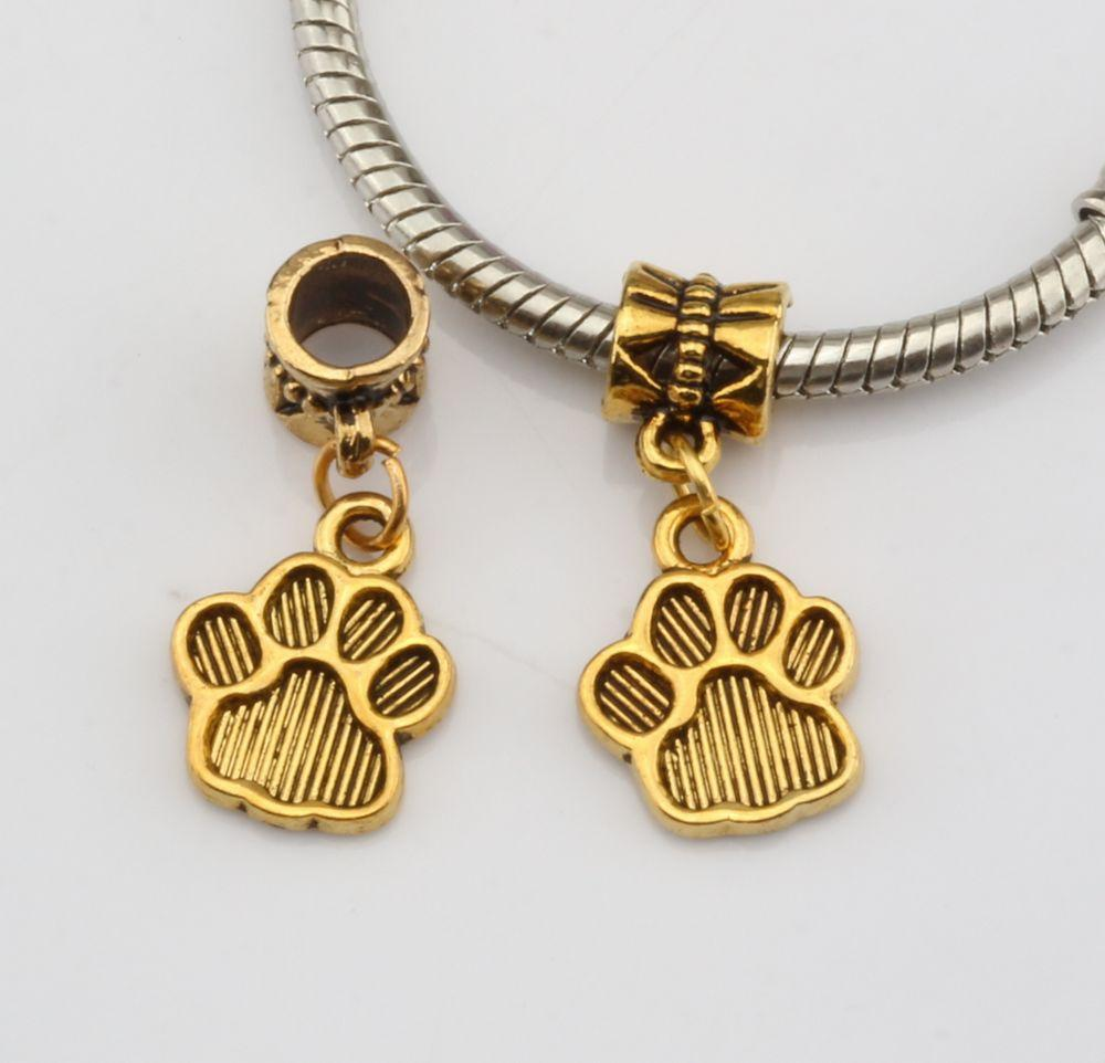 Hot ! 200pcs Antique Gold Tone Paw Print Charm With lobster clasp Fit Charm Bracelets DIY Jewelry 12x29 mm DIY Jewelry