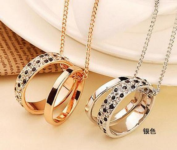 Classical Style, Necklace with 2 circles or 2 rings pedants, noble and delicate for women, free shipping and high quality