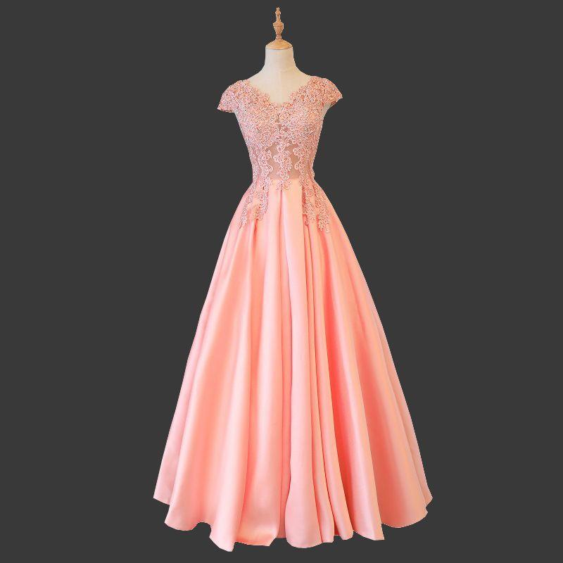 2020 Pembe Popüler Kısa Kollu V-Yaka Akşam Elbise Basit Bling Kristal Illusion Lace Up Lüks Gelin Örgün Abiye