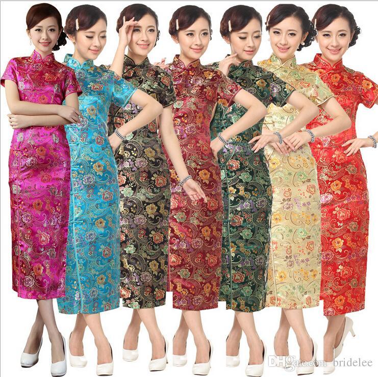 أزياء الذهب المرأة الصينية صقيل تشيونغ سام طويل تشيباو اللباس زهرة S M L XL XXL XXXL